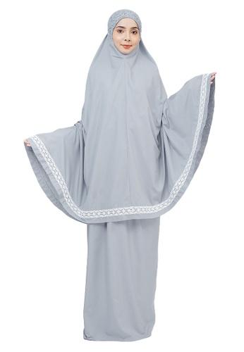 SITI KHADIJAH grey Siti Khadijah Telekung Modish Melati in Grey 6174EAA726D3BBGS_1