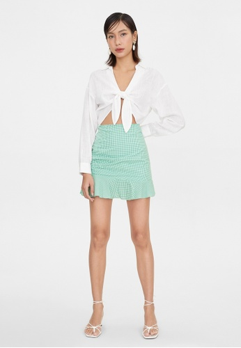 Pomelo green Ruffled Hem Gingham Skirt - Green 839FDAAAF53737GS_1