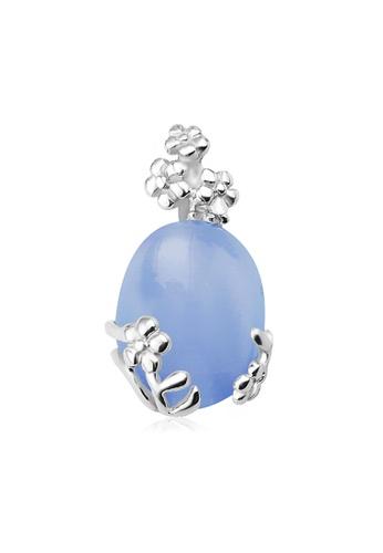 OUXI silver Ouxi Jade Flower Sterling Pendant (Silver/Blue) OU821AC27VGIMY_1