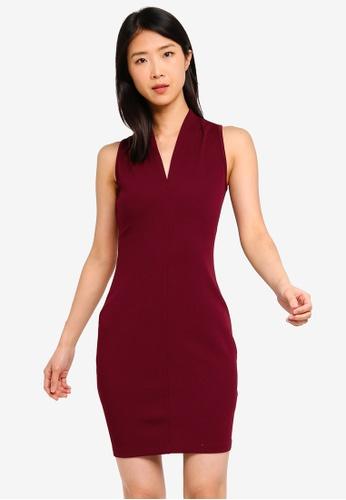 ZALORA BASICS red Basic V-Neck Bodycon Dress 014FDAA68FD6AAGS_1