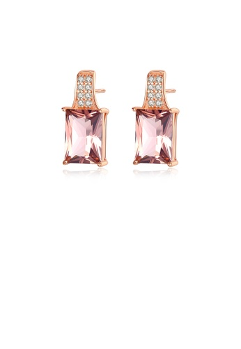 Glamorousky purple 925 Sterling Silver Plated Rose Gold Fashion Simple Geometric Rectangular Stud Earrings with Purple Cubic Zirconia 6A0D2AC53BD194GS_1