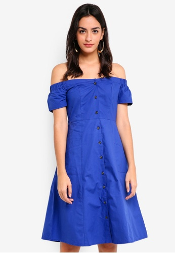WAREHOUSE blue Poplin Bardot Dress DDCF9AAB702E6BGS_1