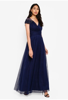 58f873558 5% OFF Little Mistress Navy Mesh Trim Maxi Dress RM 499.00 NOW RM 473.90  Sizes 6 8 10 12 14