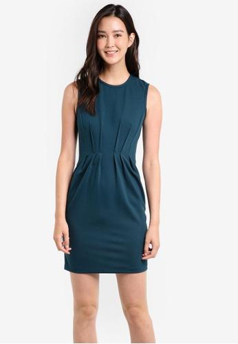 ZALORA green Pleat Detail Sleeveless Dress BA32DZZ6FF59D4GS_1