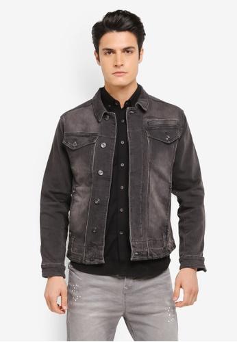 CR7 grey Knit Denim Jacket With Creased Hem Detail CR532AA0SZ93MY_1