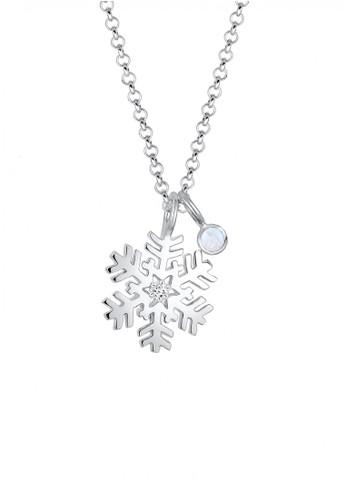 Elli Germany silver Perhiasan Wanita Perak Asli - Silver Kalung Snowflake Classic Moonstone EL948AC0V802ID_1