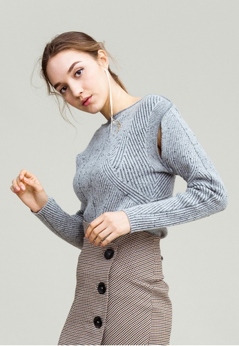 KLAPS grey Cashmere Boat Neck Ribbed Sweater 90F6AAAD3D73D7GS_1