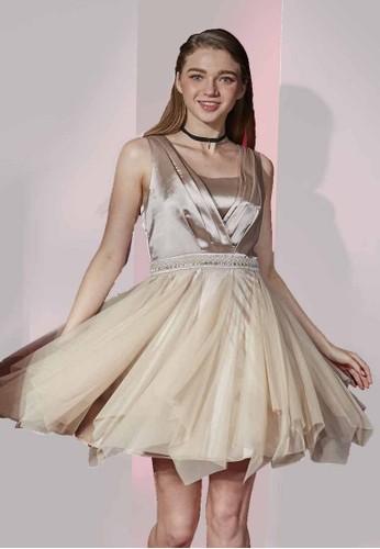 Paesprit home 台灣rty系交叉V 領不對稱下擺網紗洋裝, 服飾, 派對洋裝