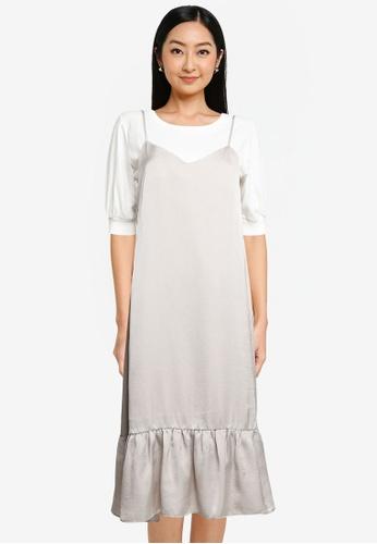 Heather white 2 In 1 Midi Dress AE07CAA24EA2AFGS_1