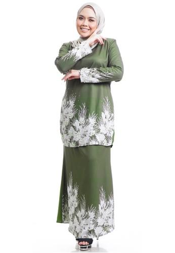 Ashura green Andara Kurung With Flower 4CCDAAAD30F49BGS_1