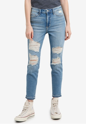 Hollister blue Medium Destroy Crop Jeans 8E027AAE486CE6GS_1