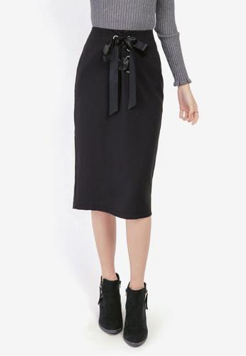 YOCO black Lace-Up Midi Skirt 6D0E6AAB06E24BGS_1