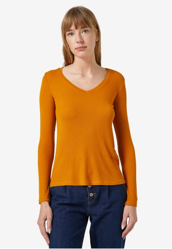 KOTON yellow V-Neck Rib Long Sleeve Top 5D97CAA542B7F1GS_1