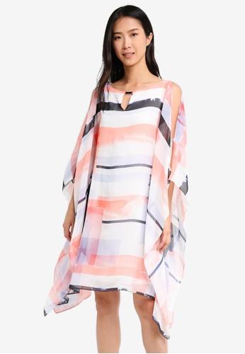 Wallis orange Coral Geometric Print Kaftan Dress WA800AA0T08EMY_1