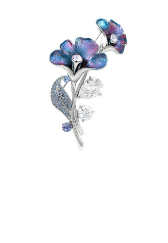 Glamorousky blue Purplish Blue Flower Brooch with Blue, Purple Austrian Element Crystals and Silver CZ D0CACACF4F75BDGS_1