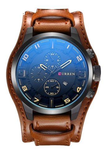 curren black and yellow Original CURREN 8225 Men's Sports Full Leather Strap Date Watch (Yellow Black) CU537AC0RTPBMY_1