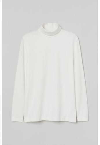 H&M white Turtle-Neck Top Slim Fit 1D396AADA1DB3CGS_1