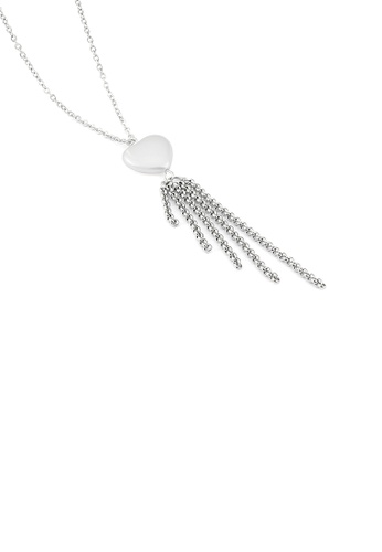 Glamorousky silver Simple Temperament Heart-shaped Tassel 316L Stainless Steel Pendant with Necklace 87CBDAC91115D9GS_1