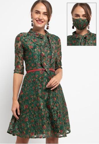 Exit green Ainsley Dress Brokat 99E50AAE25BC1BGS_1