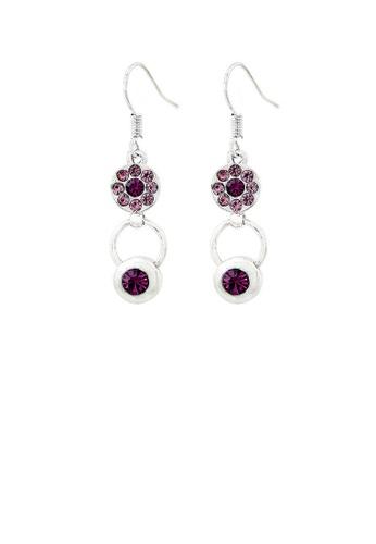 Glamorousky purple Elegant Circle Earrings with Pulper Austrian Element Crystal 922D6AC46578E0GS_1