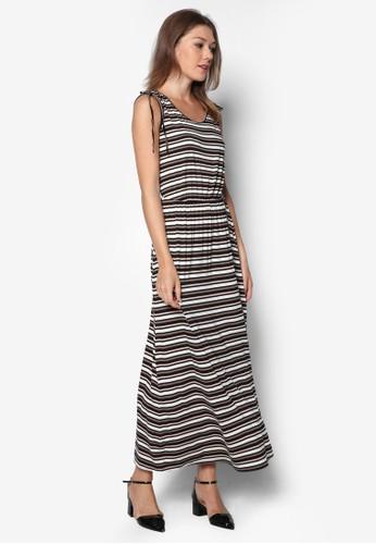 Petite zalora 心得條紋無袖連身長裙, 服飾, 服飾