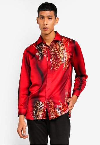 Gene Martino red Men Batik Shirt FC4D8AA8428FF8GS_1
