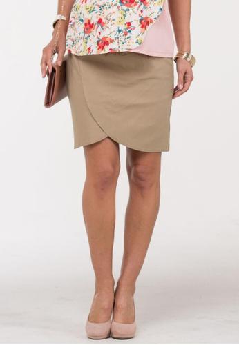Bove by Spring Maternity beige Aine High Waist Tulip Skirt IB2301 SP010AA29AIGSG_1