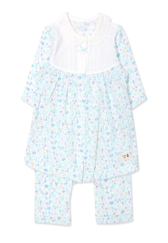 Organic mom white and blue Organic Cotton Jolin 3/4Length Sleeves PJS F1F3EKA16283C8GS_1