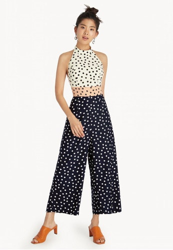 1ceb184cfdde Shop Pomelo Polka Dot Halter Jumpsuit - White Online on ZALORA ...