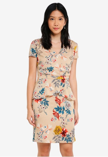 ZALORA multi and beige Short Sleeves Wrap Peplum Dress 4C295AAE9DCE9DGS_1