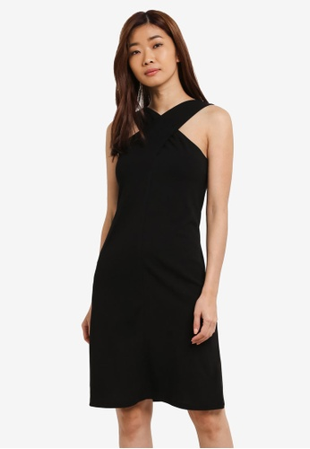 ZALORA black Cross Front Dress 99BB6AA64471C4GS_1
