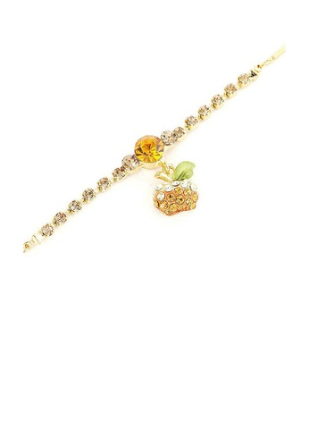 Glamorousky silver Fancy Bracelet with Golden Apple Charm in Orange and Silver Austrian Element Crystals B9510ACFB2CF0EGS_1