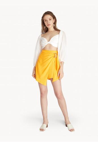 Pomelo yellow Belted Asymmetric Skort - Yellow 45E26AAA5E651FGS_1