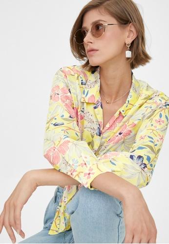 Pomelo yellow Colorful Tropical Print Shirt - Yellow 603B9AA2D7B4E6GS_1