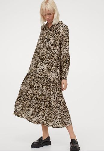 H&M multi and beige Calf-Length Dress 9CF38AAC3B1096GS_1