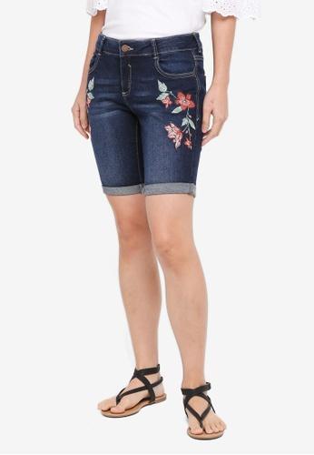 Dorothy Perkins blue Petite Indigo Knee Shorts FBB35AA7258A44GS_1