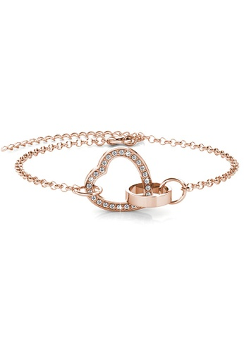 Her Jewellery gold Locked Heart Bracelet (Rose Gold) - Made with premium grade crystals from Austria D3D17AC7BBFF28GS_1