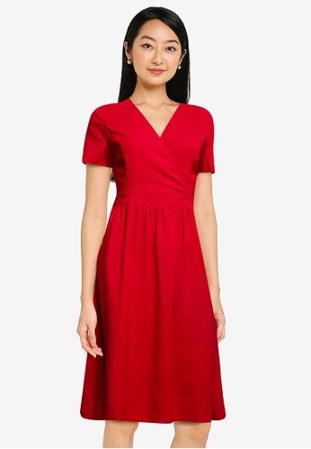 ZALORA BASICS pink Ruched Waist Wrap Dress 3433CAAD8725B5GS_1