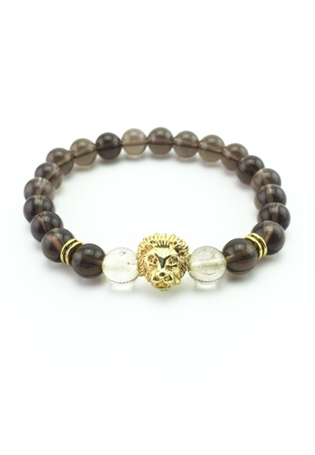 Memento Collection grey Smoky Rutilated Quartz Detailed with Lion Head ME060AC57BOGMY_1