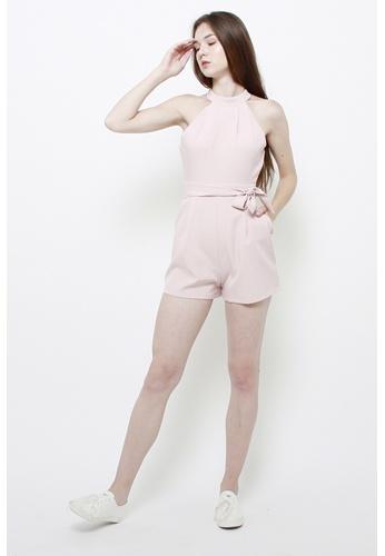 QLOTHE pink Yoko Choker Romper FB778AA2E60C9FGS_1