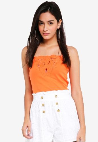 TOPSHOP orange H:Cutwork Trim Cami 5C061AAD03EB6CGS_1