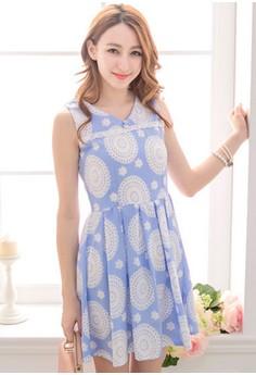 [IMPORTED] Flower Burst Flare Dress - Blue