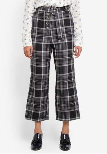 TOPSHOP grey Check Stitch Crop Wide Trousers 564A2AA3E69EA3GS_1