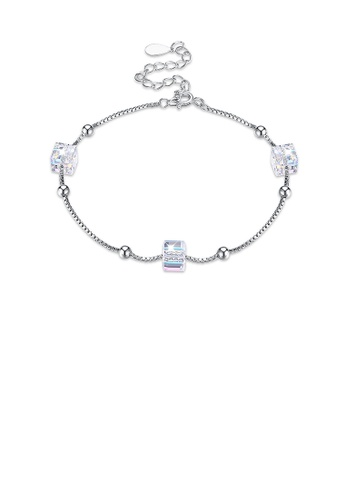 Glamorousky white 925 Sterling Silver Simple Square Bracelet with Austrian Element Crystal 828D9ACE36D9FBGS_1