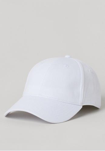 H&M white Cotton twill cap C92CEACBD00CBCGS_1