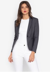 Well Suited grey Blazer with Satin Accent 5A28EAA32F1C91GS_1