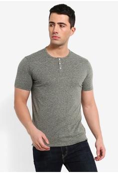 8d08a7d89 MANGO Man green Slub-Cotton Henley T-Shirt 917F7AA2F7831AGS 1