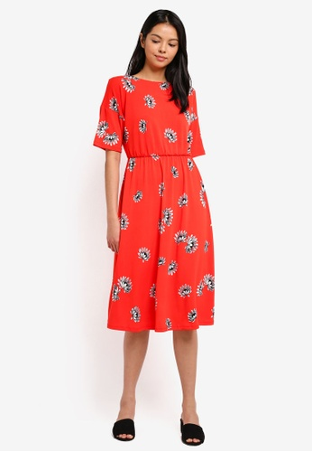 WAREHOUSE orange Fan Floral Midi Dress EA85DAAB40ED3FGS_1