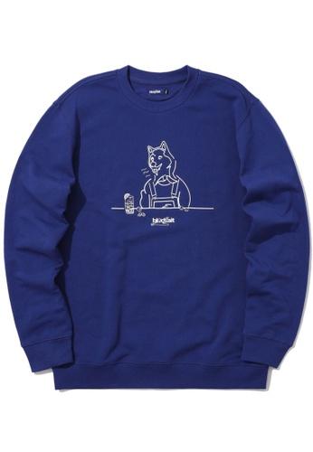 BLOCKAIT blue Akita Ken graphic sweatshirt 4DFFDAAEC601EEGS_1