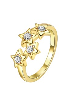 Treasure by B&D R163-B Stars Engaved Plated Zircon Inlay Ring Size 8